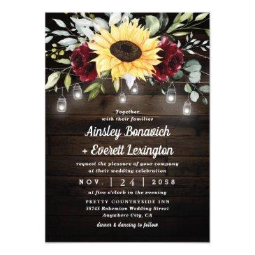sunflower and burgundy red rose rustic wedding invitation