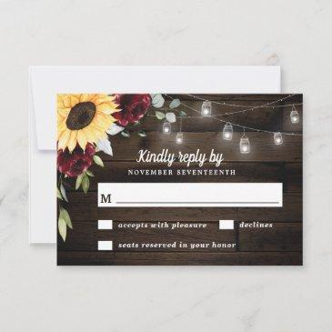 sunflower and burgundy red rose rustic wedding rsvp invitations