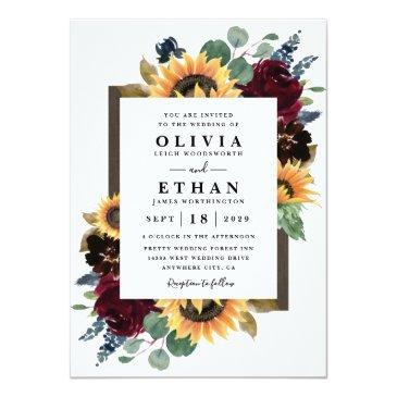 Small Sunflower And Roses Burgundy Red Navy Blue Wedding Invitation Front View
