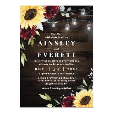 Small Sunflower Burgundy Rose Mason Jar Themed Wedding Invitation Front View