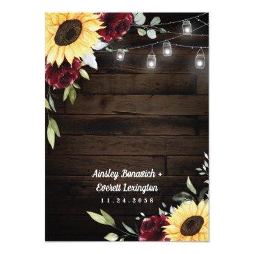 Small Sunflower Burgundy Rose Mason Jar Themed Wedding Invitation Back View
