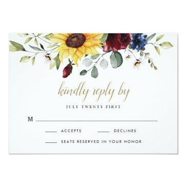 Small Sunflower Burgundy Roses Navy Blue Rustic Wedding Rsvp Invitations Front View