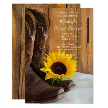 sunflower cowboy boot sweet 16 barn birthday party invitation