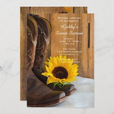 sunflower cowboy boot sweet 16 barn birthday party invitation