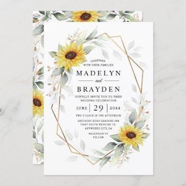 sunflower elegant rustic geometric gold wedding invitation
