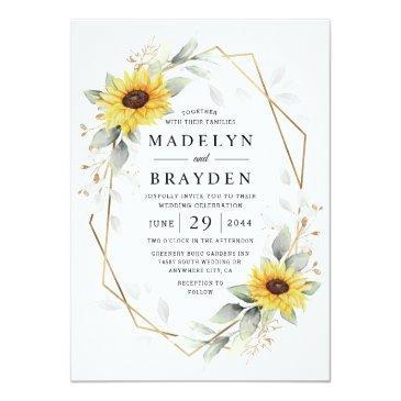 Small Sunflower Elegant Rustic Geometric Gold Wedding Invitation Front View