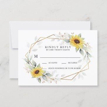 sunflower elegant rustic geometric gold wedding rsvp invitations