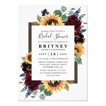 sunflower roses burgundy navy blue bridal shower invitation