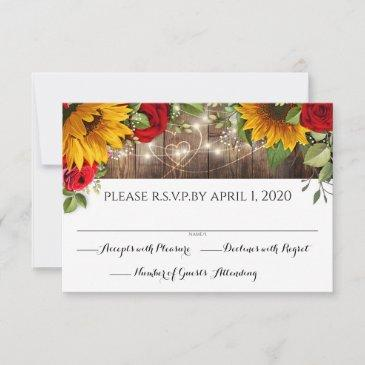 sunflower & roses rustic wood lights rsvp invitations