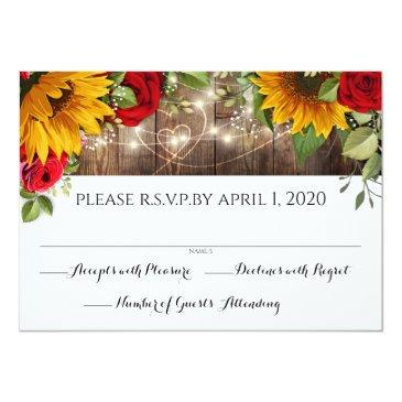 Small Sunflower & Roses Rustic Wood Lights Rsvp Invitations Front View