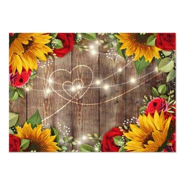 Small Sunflower & Roses Rustic Wood Lights Rsvp Invitations Back View