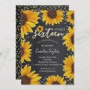 sunflower sweet 16 birthday chalkboard invitation
