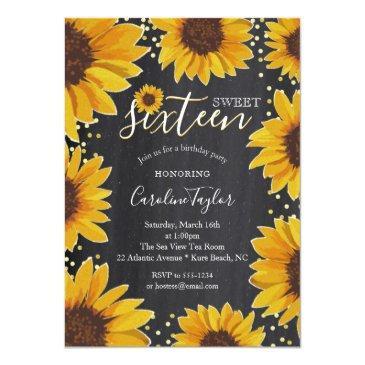 Small Sunflower Sweet 16 Birthday Chalkboard Invitation Front View