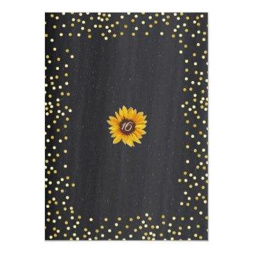 Small Sunflower Sweet 16 Birthday Chalkboard Invitation Back View