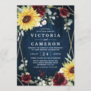 sunflowers burgundy roses navy geometric wedding invitation