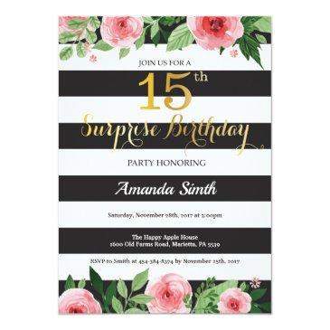 surprise 15th birthday invitation teen floral