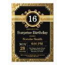 surprise 16th birthday invitation black and gold