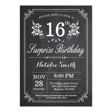 surprise 16th birthday invitation chalkboard