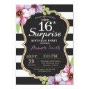 surprise 16th birthday invitation floral gold