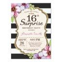surprise 16th birthday invitation floral teen