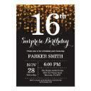 surprise 16th birthday invitations gold glitter