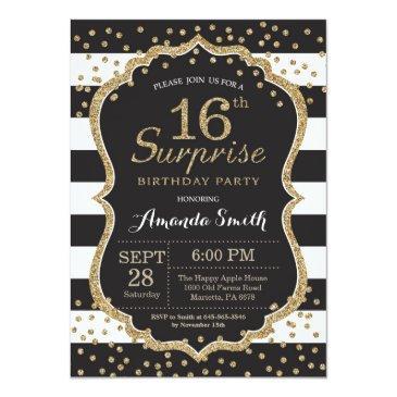 Small Surprise 16th Birthday Invitation. Gold Glitter Invitations Front View