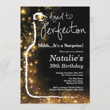 surprise 30th birthday wine aged to perfection invitation