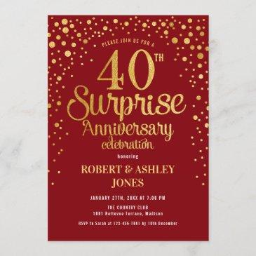 surprise 40th anniversary - ruby red & gold invitation