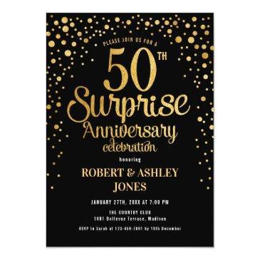 Small Surprise 50th Wedding Anniversary - Black & Gold Invitation Front View
