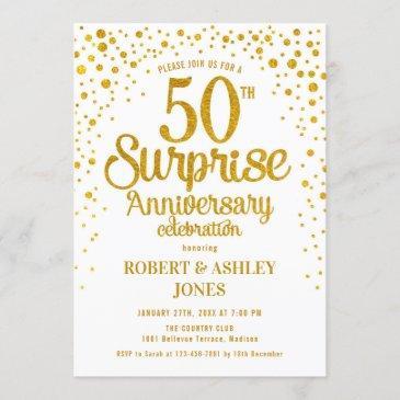 surprise 50th wedding anniversary - gold & white invitation