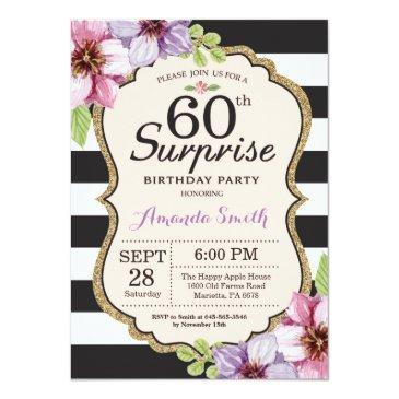 surprise 60th birthday invitations women floral