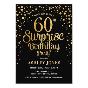 Small Surprise 60th Birthday Party - Black & Gold Invitation Front View