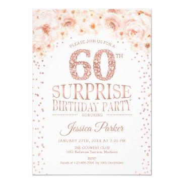 surprise 60th birthday party - white rose gold invitation