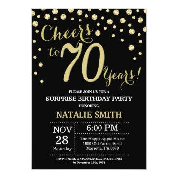 surprise 70th birthday black and gold diamond invitation