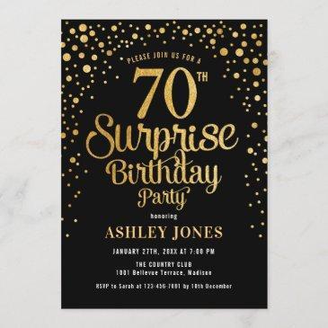 surprise 70th birthday party - black & gold invitation