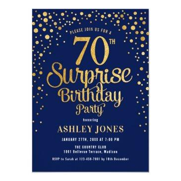 Small Surprise 70th Birthday Party - Navy & Gold Invitation Front View