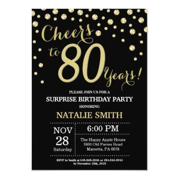 Small Surprise 80th Birthday Black And Gold Diamond Invitation Front View