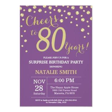 surprise 80th birthday purple and gold diamond invitation