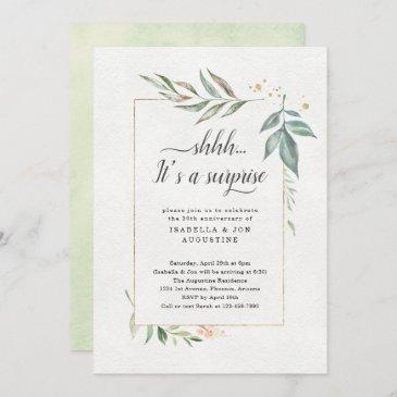 surprise anniversary party watercolor floral invitation