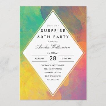 surprise party | colorful abstract boho watercolor invitation