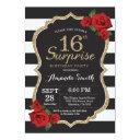 surprise red rose 16th birthday invitation gold