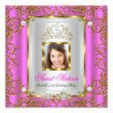 sweet 16 16th birthday hot pink gold photo invitation