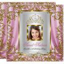 sweet 16 16th birthday pink gold photo invitation