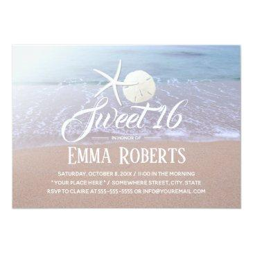 Small Sweet 16 Beach Theme Starfish & Sand Dollar Invitations Front View