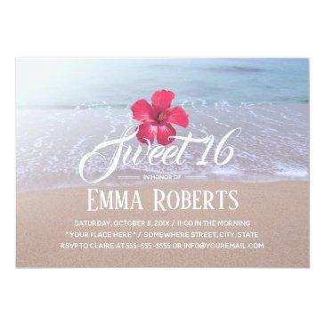 Small Sweet 16 Beach Theme Tropical Red Flower Invitations Front View