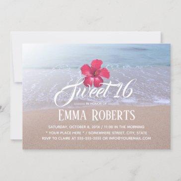 sweet 16 beach theme tropical red flower invitation