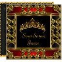 sweet 16 birthday black red gold tiara invitation
