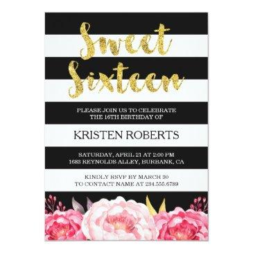 Small Sweet 16 Birthday Floral Gold Black White Stripes Invitations Front View