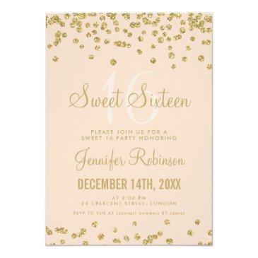 Small Sweet 16 Birthday Gold Blush Glitter Confetti Invitations Front View