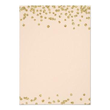 Small Sweet 16 Birthday Gold Blush Glitter Confetti Invitations Back View